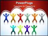 PowerPoint Template - Diversity people icons isolated over a white background.