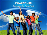 PowerPoint Template - multi racial or cultural or mixed race group of happy smiling youth