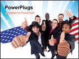 PowerPoint Template - Young interracial group of teenage businessmen giving a thumbs up sign. Fresh trendy models.