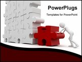 PowerPoint Template - 3d man with puzzle isolated on white