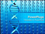 PowerPoint Template - Many blue DNA (double helixes)