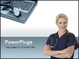 PowerPoint Template - Stethoscope and laptop illustrating concept of digital security