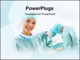 PowerPoint Template - A portrait of a medical assistant while an operation takes place in the background