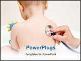 PowerPoint Template - Children doctor exams baby girl with stethoscope