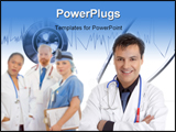 PowerPoint Template - Friendly caring team of medical doctors surgeons healthcare professionals.