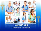 PowerPoint Template - Smiling medical doctors with stethoscope. Health. Hospital.