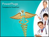 PowerPoint Template - Smiling doctors and nurses with stethoscopes over a white background.