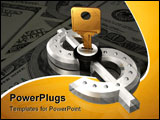 PowerPoint Template - 3d illustration of a brass key protruding from a metallic dollar symbol