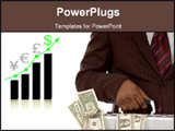PowerPoint Template - his is an image of a businessman holding a briefcase with plenty of money in it. The graph in the b