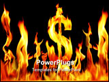 PowerPoint Template - dollar sign sapped fire flame over black background