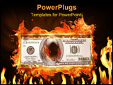 PowerPoint Template - a dollar note on fire.