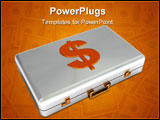 PowerPoint Template - 3d illustration of steel case with golden dollar sign