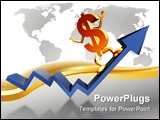 PowerPoint Template - Illustration of a dollar symbol surfing an upward graph