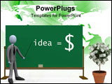 PowerPoint Template - 3d person in front of a blackboard