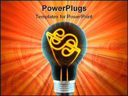 PowerPoint Template - bulb, which represents the profitable idea made in 3D