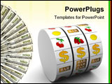 PowerPoint Template - abstract 3d illustration of dollar jackpot over white background