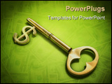 PowerPoint Template - a key with a dollar-sign implemented on a green surface.