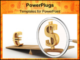 PowerPoint Template - Dollar and euro on scales. 3D image.