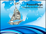 PowerPoint Template - paper sailboat from dollars banknotes over world map background