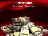 PowerPoint Template - 3d illustration of dollars stack over red colors background