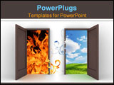 PowerPoint Template - Opened doors into different elements � blue sky and fire