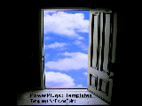 PowerPoint Template - Doorway opening  to bright blue sky.
