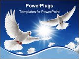 PowerPoint Template - two doves flying with spread wings on sky