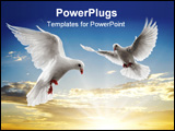 PowerPoint Template - two dove looking down while flying on sky