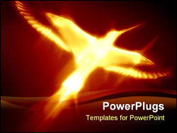 PowerPoint Template - flaming phoenix on a dark red background