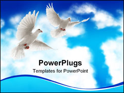 PowerPoint Template - two doves flying with beautiful nature scenic