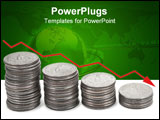 PowerPoint Template - red down arrow over stacks of coins isolated against a white background