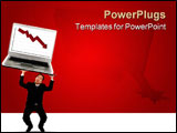 PowerPoint Template - young business man struggling holding up falling laptop with falling red stock chart on the screen