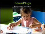 PowerPoint Template - Cute little girl drawing with color crayons
