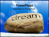 PowerPoint Template - reams put on the shelf a rock with the word dream inscribed in it sits on top of a brick wall again
