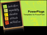 PowerPoint Template - edication responsibility education attitude motivation - DREAM acronym explained on blackboard with