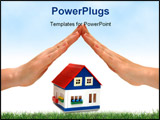 PowerPoint Template - hands over a small house white background