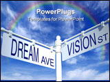 PowerPoint Template - street post with dream ave and vision st signs