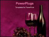 PowerPoint Template - horizontal of wine bottle with glasses and grapes on maroon background
