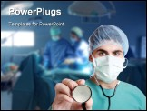 PowerPoint Template - medical doctor with stethoscope in emergency room selective focus