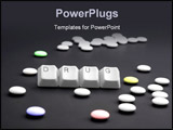PowerPoint Template - DRUG caption by keyboard keys and pile of pills on black