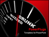 PowerPoint Template - A speedometer measuring how drunk the driver is