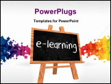 PowerPoint Template - 3d isolated wooden blackboard with text - e-learning