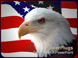 PowerPoint Template - he national bird of the United States Of America, the majestic bald eagle against a Flag background