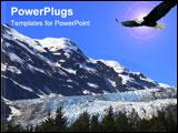 PowerPoint Template - american bald eagle soaring over davidson glacier, alaska.