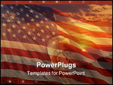 PowerPoint Template - Eagle, american flag, sunset
