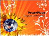 PowerPoint Template - An image of earth with yellow sunflowers