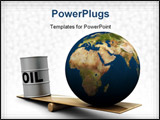 PowerPoint Template - 3d illustration of comparison of earth and oil