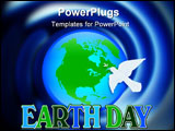 Illustration for Earth Day with planet peace dove and 3D text symbol or logo