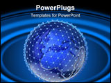 PowerPoint Template - Conceptual maped with continents Earth planet in a wire network case - 3d render