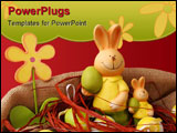 PowerPoint Template - Colorful Easter eggs and two bunnies with a flower